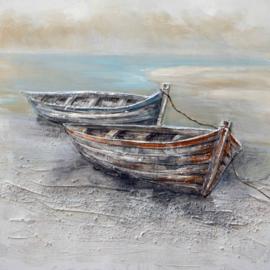 100 x 100 cm - Olieverfschilderij - Boten Strand
