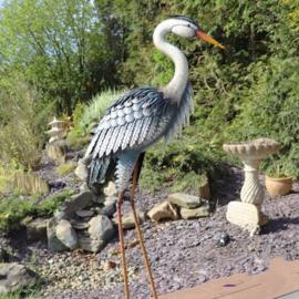 Tuinbeeld - beeld metalen reiger