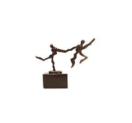 Beeld brons - sculptuur - figuur - de sprong wagen - 10 cm hoog - Martinique
