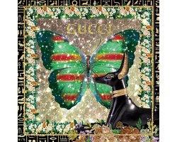 80 x 80 cm - Groene vlinder - Gucci - Glasschilderij - Brands & Fashion