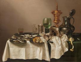 120 x 80 cm - Plexiglas schilderij - Stilleven met vergulde bokaal - klassieke kunst afbeelding op acry l- oude meesters!