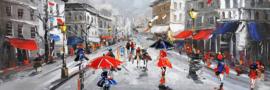 Olieverfschilderij - Mensen Paraplu - 150x60 cm
