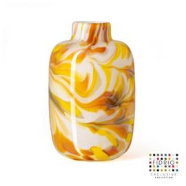 Design vaas Fidrio - glas kunst sculptuur - toronto - mustard - mondgeblazen - 15 cm hoog --