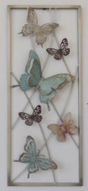 25 x 60 cm - wanddecoratie schilderij metaal - Frame Art - Vlinders --
