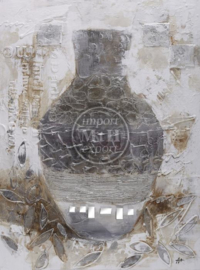 70 x 100 cm - Olieverfschilderij - Stilleven- vaas - olie op Schilderijen, Canvas - handgeschilderd