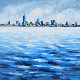 100 x 100 cm - Olieverfschilderij - Stad aan het water - skyline handgeschilderd