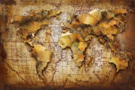 120 x 80 cm - 3D art Schilderij Metaal wereldkaart - handgeschilderd