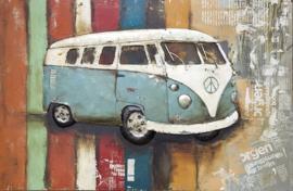 120x80 cm - 3D art Schilderij Metaal oldtimer Blauwe SAMBA Bus - Volkswagen T1 - oldtimer - handgeschilderd