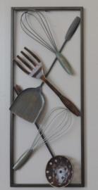 25 x 60 cm - wanddecoratie schilderij metaal - Frame Art - Abstract - Kunst - Keuken gerei