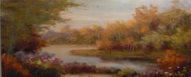 150 x 60 cm - Olieverfschilderij - Landschap Rivier - natuur handgeschilderd