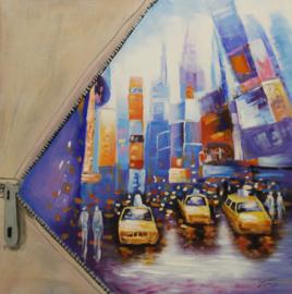 100 x 100 cm - Olieverfschilderij - Kleurrijke Stad Pocket - stadsgezicht handgeschilderd