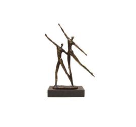 Beeld brons - sculptuur - figuur - samen in de goede richting - 19 cm hoog - Martinique