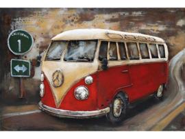120 x 80 cm - 3D art Schilderij Metaal - Rode SAMBA Bus - Volkswagen T1 - oldtimer - handgeschilderd