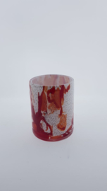 Design vaas Fidrio - glas kunst sculptuur - cilinder - Rosso - mondgeblazen - 13 cm hoog