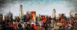 Olieverfschilderij - Skyline - 60x150 cm