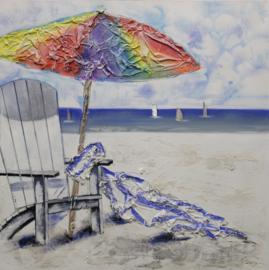 Olieverfschilderij - Parasol Strand - 100x100 cm