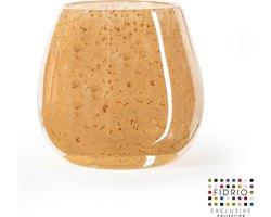 Design vaas fiore - Fidrio copper - glas, mondgeblazen - hoogte 15 cm --