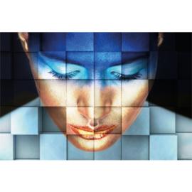 180 x 120 cm - Schilderij Dibond - Foto op aluminium - Vrouw blauw - fotokunst - Mondiart