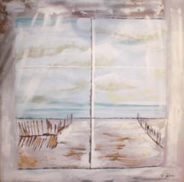 100 x 100 cm - Olieverfschilderij - Strand