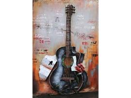 60 x 90 cm - 3D art Schilderij Metaal - gitaar - muziek - handgeschilderd--
