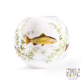 Design vaas bol - Fidrio HAND PAINTED FISH WHITE - glas, mondgeblazen bloemenvaas - diameter 40 cm