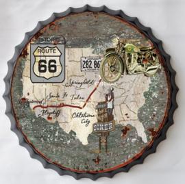 rond 33 cm - Wanddecoratie schilderij bierdop kroonkurk - reclame Amerika