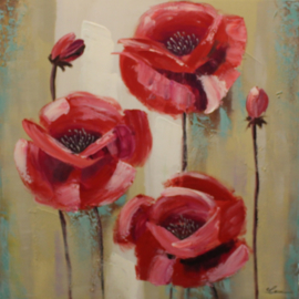 Olieverfschilderij - Rode bloemen - 80x80 cm