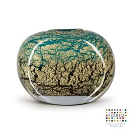 Design vaas Fidrio - glazen sculptuur - Fiji - coco - glas - mondgeblazen - 21 cm hoog
