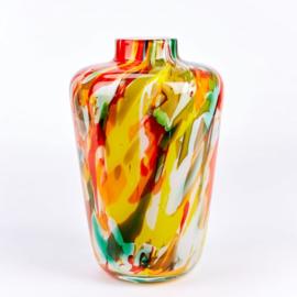 Design vaas Fidrio - Toronto - Fiorito - gekleurd glas kunst - mondgebazen - 28 cm hoog --