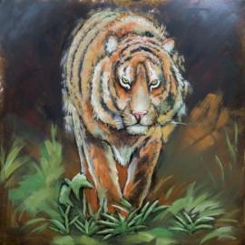 100 x 100 cm - 3D art Schilderij Metaal Siberische tijger - metaalschilderij - handgeschilderd