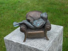 Tuinbeeld brons - beeld luie kikker - Bronzartes