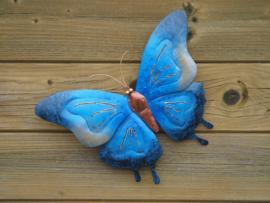 Metalen wanddecoratie - Blauwe vlinder groot