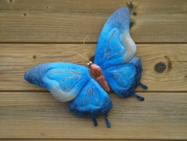Metalen wanddecoratie - Blauwe vlinder klein