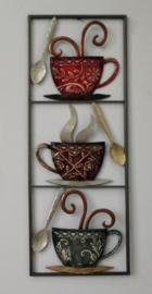 28 x 73 cm - wanddecoratie schilderij metaal - Frame Art - Abstract - koffie - kop en schotel