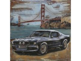 100 x 100 cm - 3D art Schilderij Metaal - Zwarte Ford Mustang - oldtimer - San Francisco - handgeschilderd