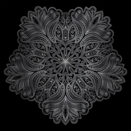 74 x 74 cm - Schilderij - Mandala Zwart - dibond fotokunst op aluminium