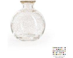 Design vaas Bolvase white neck - Fidrio BUBBLES CLEAR - glas, mondgeblazen bloemenvaas - diameter 11 cm