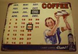Wanddecoratie - Kalender - Coffee - 33x25