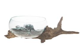 Glazen vaas op boomstronk - naturel--