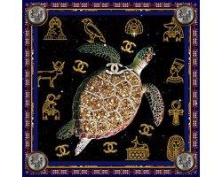 100 x 100 cm - Glasschilderij - Schildpad, Egyptische tekens en Gucci - schilderij fotokunst - foto print op glas