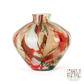 Design vaas Fidrio - glas kunst sculptuur - belly - Mixed colours - mondgeblazen - 20 cm hoog --