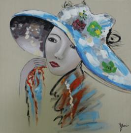 100 x 100 cm - Olieverfschilderij - Vrouw blauwe hoed