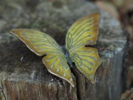 Tuinbeeld -  metalen Beeld -  Gele vlinder