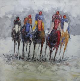 100 x 100 cm - Olieverfschilderij - Paardenrace