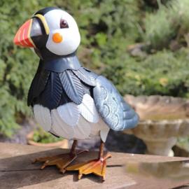 Beeld metaal - Tuinbeeld - beeld papegaaiduiker - 26 cm hoog