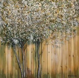 100 x 100 cm - Olieverfschilderij - Bomen Hout - natuur - handgeschilderd