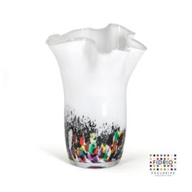 Design vaas Fidrio - glas kunst sculptuur - wave - coral - mondgeblazen - 35 cm hoog