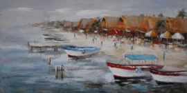 Olieverfschilderij - Strand- 60x150 cm