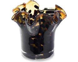 Design vaas Mini - Fidrio LEPPARD - glas, mondgeblazen bloemenvaas - hoogte 12 cm --