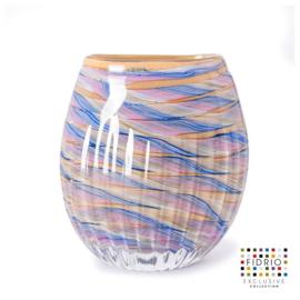 Design vaas Fidrio - glas kunst sculptuur - Luminoso - coloured waves - mondgeblazen - 26 cm hoog --